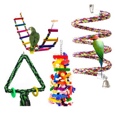 OEM Customized Pure Natural Colorful Bead Cage Parrot Chewing Pet Bird Toy