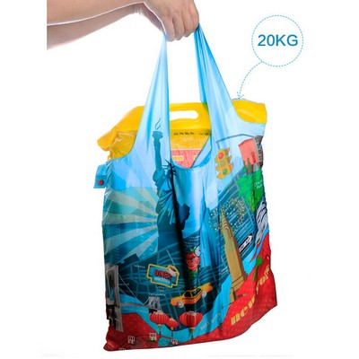 Popular Design Newyork City Polyester Shopping Foldable Bag With Pocket